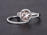 8mm Round Morganite & Diamond 14K White Gold Over Wedding Split Band Bridal Ring