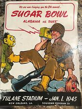 1945 Sugar Bowl Program Alabama vs Duke during WWII US soldier on cover