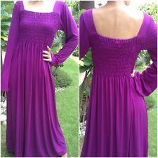 NWT Formal Long Dress smocked Purple Women's Dress Long Sleeve Plus size XXL