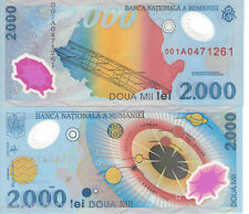 ROMANIA 2000 Lei Banknote World Money Polymer Currency Pick p-111 Prefix 001A