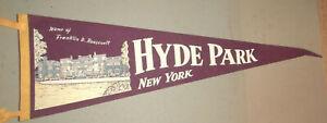 VINTAGE SOUVENIR FELT PENNANT FD ROOSEVELT HOME HYDE PARK NY 1950s Mansion Image