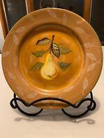 "Zrike Pear Leaves on Rim Green Edge Orange Tan 11"" Hand Painted Dinner Plate"
