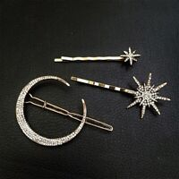 Women Lady Crystal Hair Clip Moon Star Hair Pins Barette Hairpin Accessories Lot