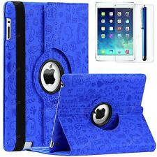 For Apple iPad 2 3 4 360 Rotating PU Leather Case Smart Cover Stand Cute Navy