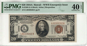 1934 A $20 FEDERAL RESERVE NOTE HAWAII WWII EMERGENCY ISSUE FR.2305 PMG XF 40 Q