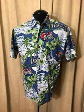 Mens Harley Davidson Hawaiian Shirt Blue Size M Short Sleeve Cotton