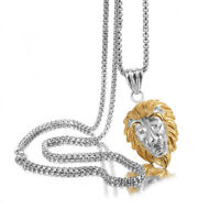 Fashion Jewelry Men Silver Gold Stainless Steel Animal Lion Pendant Box Necklace