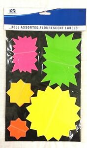 30pc Assorted Flouresent Stationery School Office Home Name Notes Stick labels