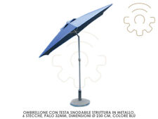 Parasol Head Jointed Blue Colour Ø 230cm 6 Sticks Crank Opening Sneakers