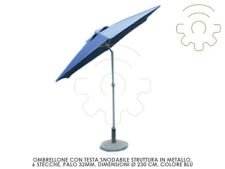 Parasol Head Jointed Colour Blue ø 230cm 6 Planks Crank Opening Sneakers