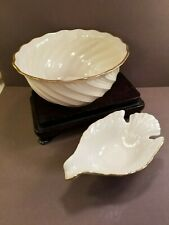 "Lenox Ivory Porcelain Dove Candy Dish & 8"" Swirl Bowl Gold Trim"