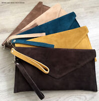 Dark Brown Wedding Clutch Bag Evening Bag Over Size Envelope Suede Prom Italy