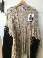 Chunky NEW knit cardigan Beige Leather Studs One size Oversized RAGGED PRIEST