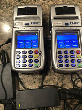 Lot Of 2 First Data Fd400Gt Cdma Wireless Terminals With Ac Adaptors And 1 Dc