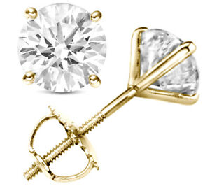 2.20 ct FVS1 Round Natural Diamond Stud Earrings 14K Yellow Gold Certified