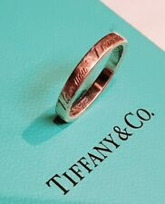 Tiffany & Co Sterling Silver I Love You Circle Ring Band Size 6 Cursive Script