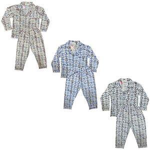 Boys Kids Pyjamas Long Sleeve Top Bottom Set Nightwear PJ Button Alphabet Cotton