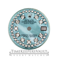 Custom  Ice Blue MOP  Diamond Dial To Fit Rolex Lady Datejust 26mm SS