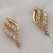 Lovely Nice Leaf White CZ Gems Jewelry Yellow Gold Filled Stud Earrings E2724-22