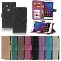 For Huawei Smart Phone Luxury Wallet Card Matte Leather Case Cover Skin TPU / DK