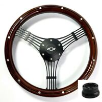 """14"""" Black Banjo Steering Wheel, Wood w/ Aluminum, Chevy Horn Button, Adapter"""