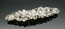 Exquisite Formal Wedding Crystal Silver Hair Clip Barrette Comb Rhinestone 7cm