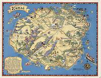 Historical Pictorial Map Hawaiian Island of Kauai Vintage Wall Art Poster Print