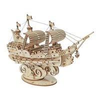 Sailing Ship 3D Wooden Puzzle Model Kit 118 Pieces Build Yourself DIY Robotime