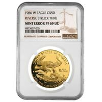 1986 W 1 oz $50 Proof Gold American Eagle NGC PF 69 Mint Error (Rev Struck Thru)