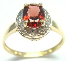 SYJEWELLERY FINE 9CT SOLID YELLOW GOLD NATURAL GARNET & DIAMOND RING SIZE N R967