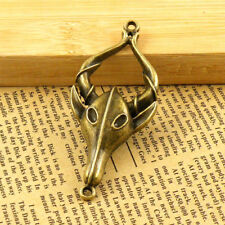 1Pcs Antiqued Bronze Cow Skull Ox horn Charms Pendants 31x73.5mm A4108