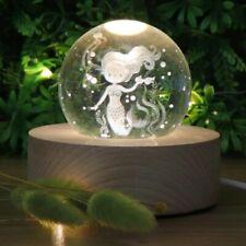 Mermaid Crystal Ball 3D LED Lamp Night Light