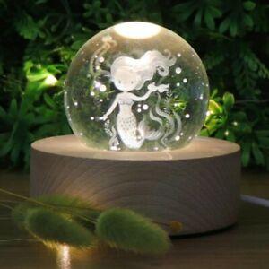 Mermaid Nightlight Crystal Ball 3D LED Lamp Night Light childrens bedroom