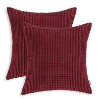"2Pcs CaliTime Burgundy Pillows Covers Shells Corn Soft Corduroy Striped 26 x 26"""