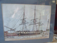 Martin Barry hand colored print U.S. Frigate Constellation Signed and numbered