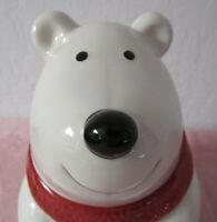 POLAR BEAR COOKIE JAR   WHITE WITH RED SCARF. CUTE AND COLLECTIBLE.