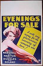 EVENINGS FOR SALE '32 WC POSTER HERBERT MARSHALL PRE-CODE SEXY SEDUCTIVE ARTWORK