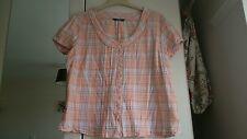 Camisa para mujer Talla 20, Durazno/Blanco/carbón comprobado, Manga Corta