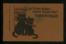 Leather postcard  Novelty black cat music rocking chair Leatherette Series 1300