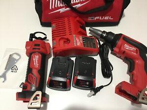 NEW Milwaukee 2866-22CT FUEL Drywall Screw Gun Kit (2) 2.0 Ah Batteries CUT OUT