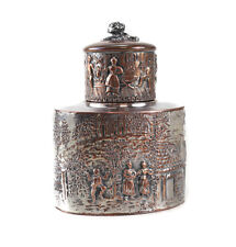 Barbour Silver Co Silver Plate Tea Caddy Repousse Rose Finial, circa 1895