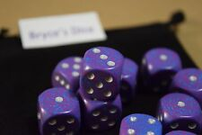 Speckled 16mm D6 RPG Chessex Dice(10 Dice) Silver Tetra Speckled Purple and Blue