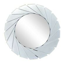 Art Deco Style LARGE Bevelled Cut Silver Round Mirror NEW Bathroom Hall 50cm