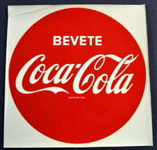 """Vintage 1964 Italian Coca-Cola 13 1/2"""" BUTTON Sign Water Slide DECAL - NOS"""