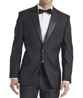 Calvin Klein Mens Blazer Black Size 46 Long Slim Fit Tuxedo Wool $425 582