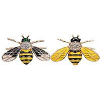 2PCS Vintage Enamel Bumble Bee Pearl Brooch Pin Costume Badge Women Jewelry