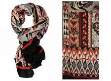 Schal, Tuch, Stola - sehr groß, Viskose, 2 x 1 Meter - rot / grau / creme