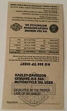 VINTAGE HARLEY DAVIDSON OIL CHANGE RECORD CARD HD 360 Tip Sheet