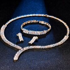 Chic Sapphire Rhinestone Crystal Gold Stud Earrings Choker Chain Bracelet Set