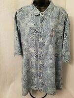 Columbia Mens Blue White Design Button Down Shirt Size XXL